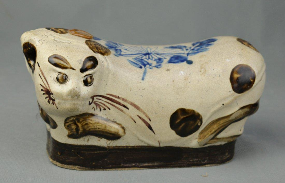 A Animal Shaped Porcelain Pillow, Ming Dynasty