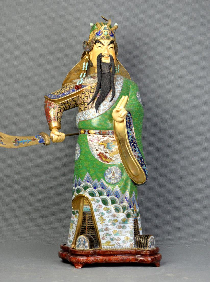 A Cloisonne Guan Gong Statue from Qing Dynasty