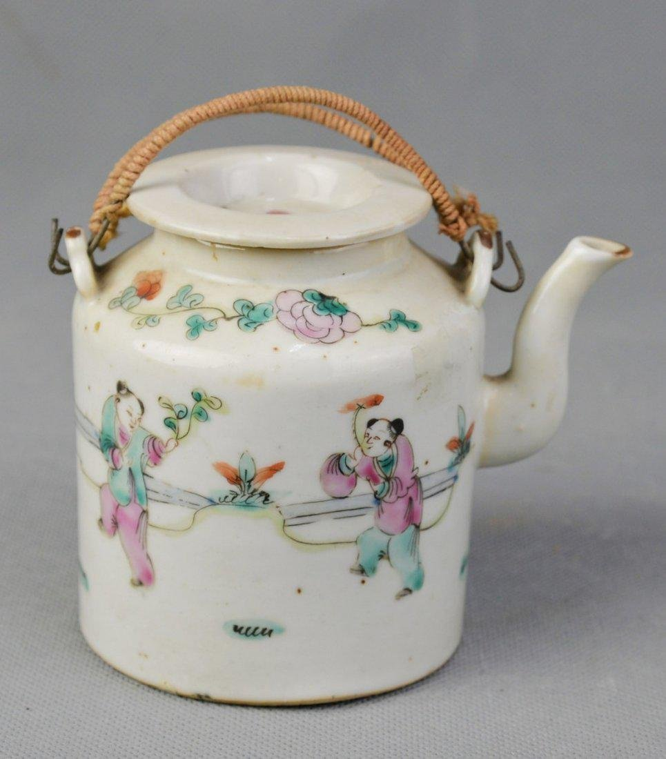 A Famille Rose Teapot of Children Playing Pattern, Qing