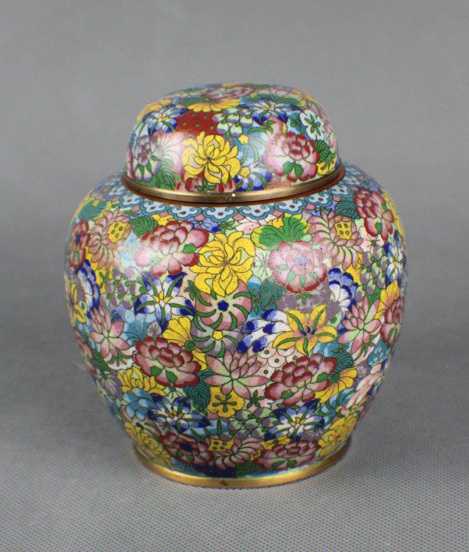 A Cloisonne Flower Pattern Jar with Cover