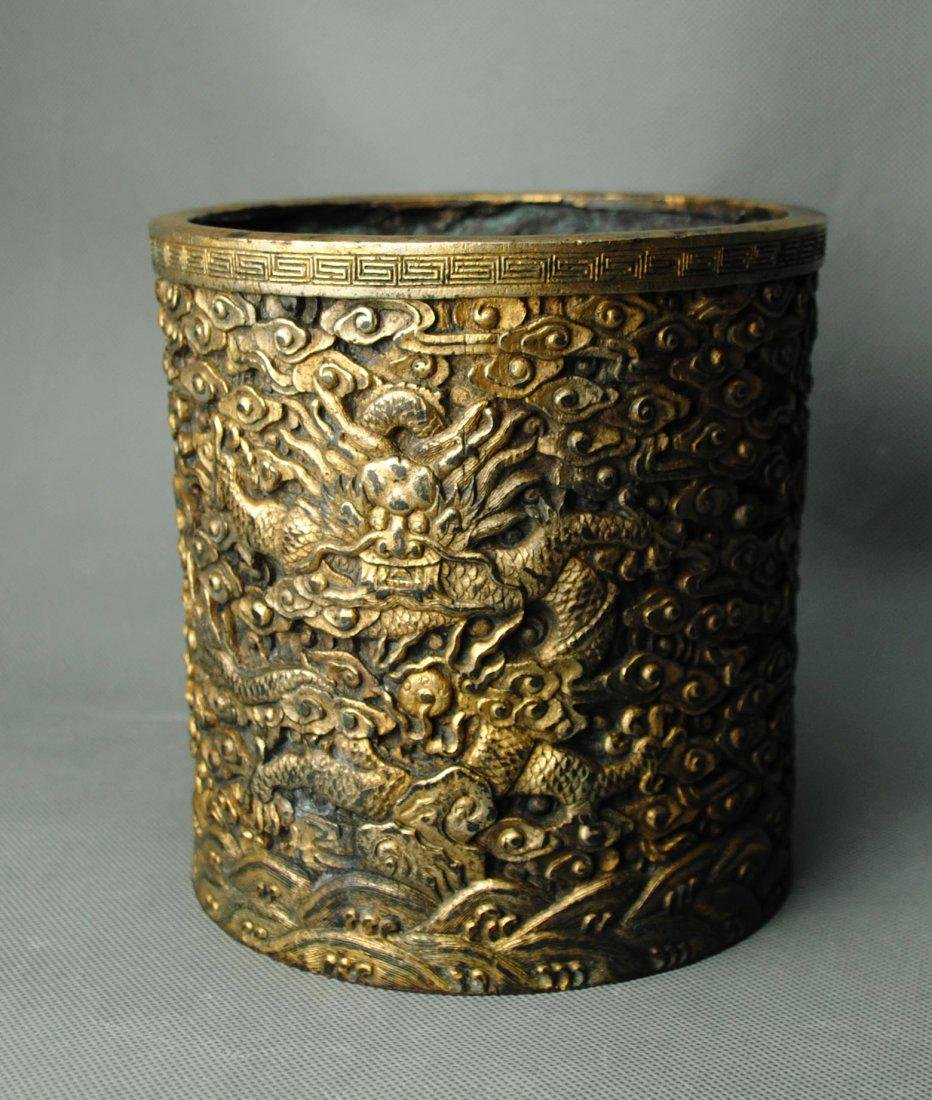 A Branze Brushpot Carved in Dragons in Cloud from Qing