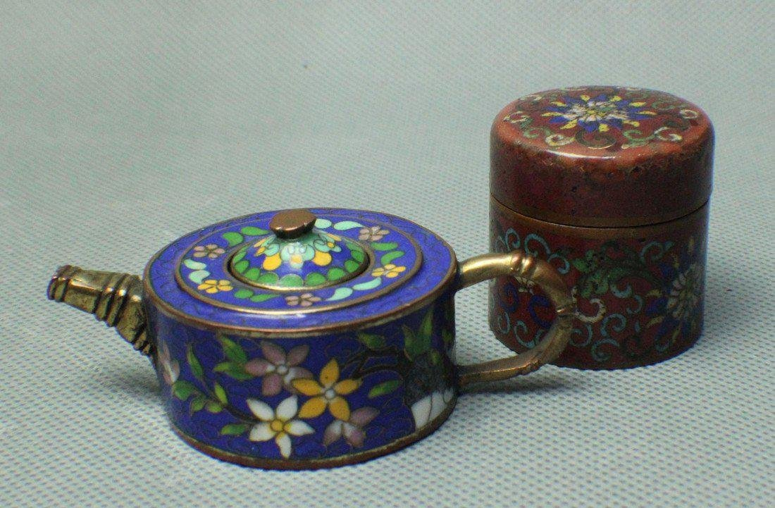 A SMALL CLOISONNE TEAPOT & RING-BOX