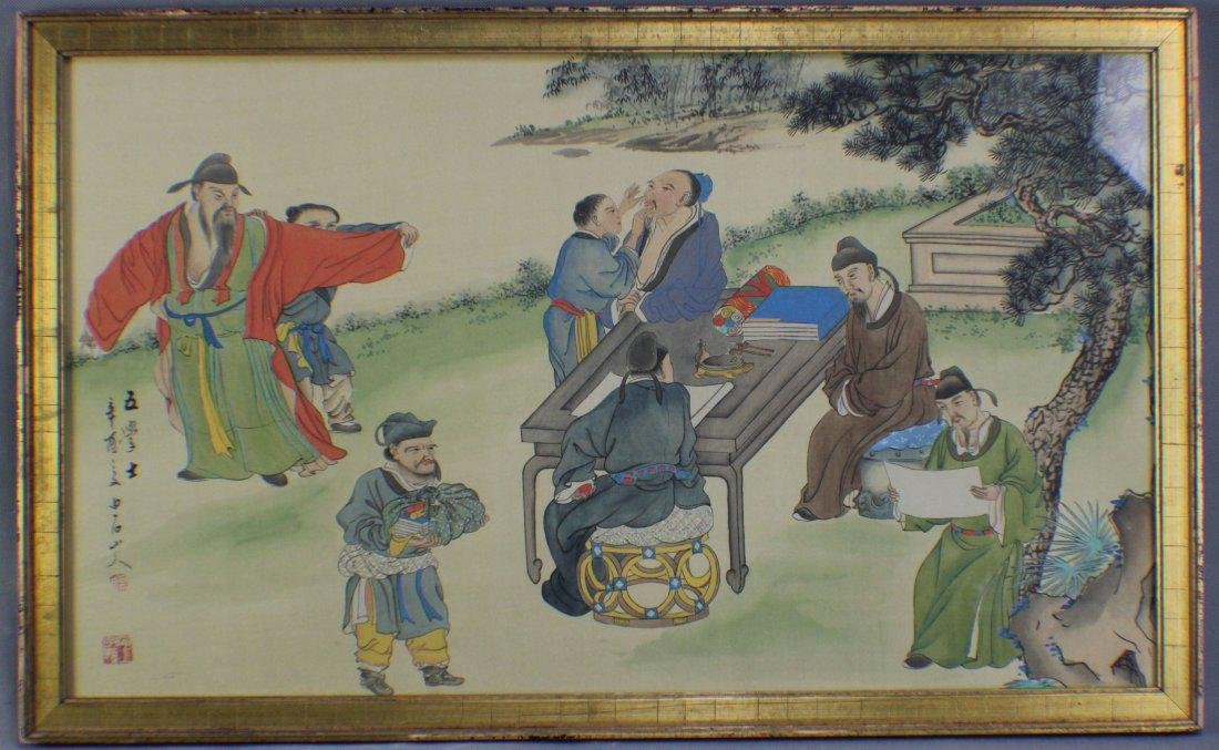 Five Scholars By Bai Shi Shan Ren ink and color