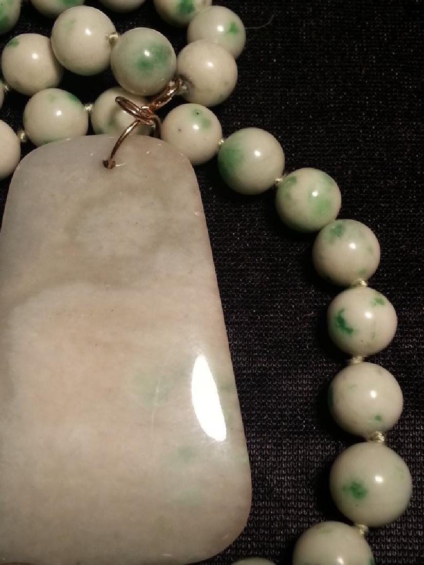 ANTIQUE CHINESE NATURAL JADE NECKLACE - 9