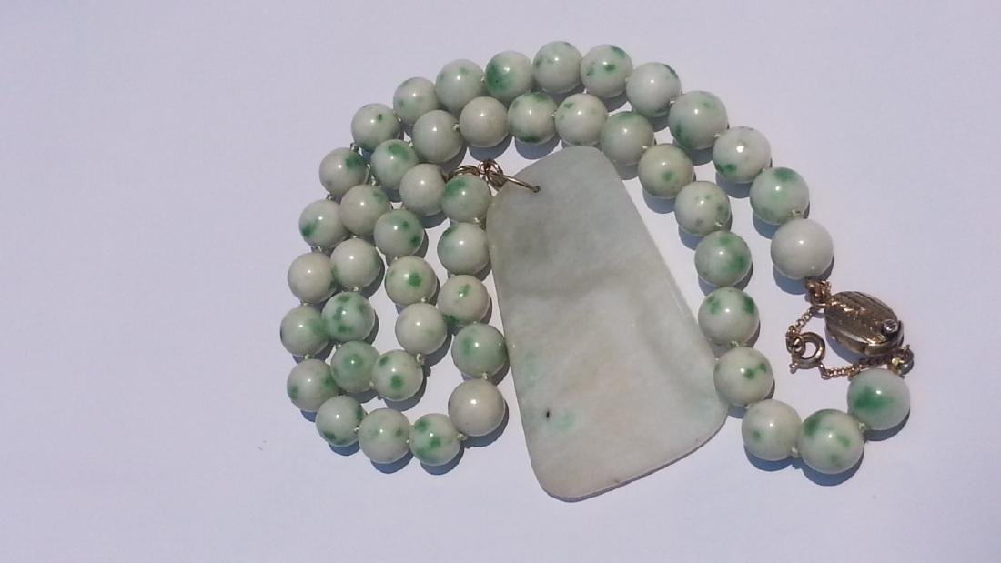 ANTIQUE CHINESE NATURAL JADE NECKLACE - 10