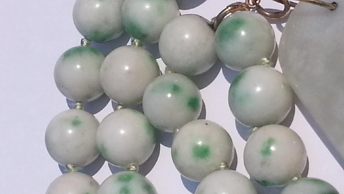 ANTIQUE CHINESE NATURAL JADE NECKLACE - 3