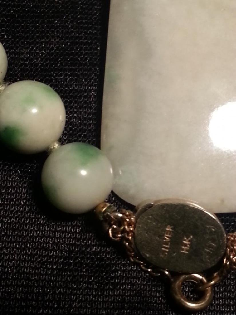 ANTIQUE CHINESE NATURAL JADE NECKLACE - 8
