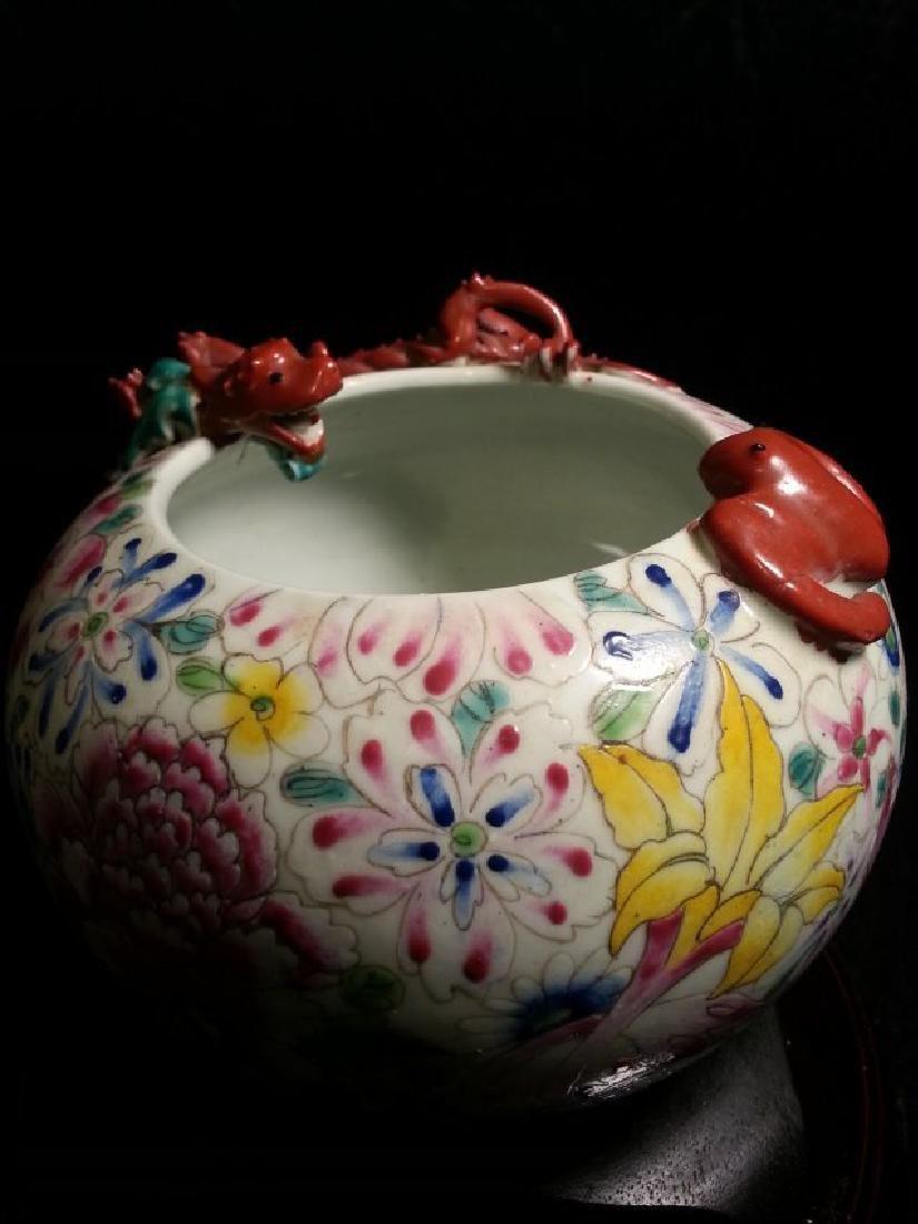 ANTIQUE Famille Rose enameled porcelain brushpot