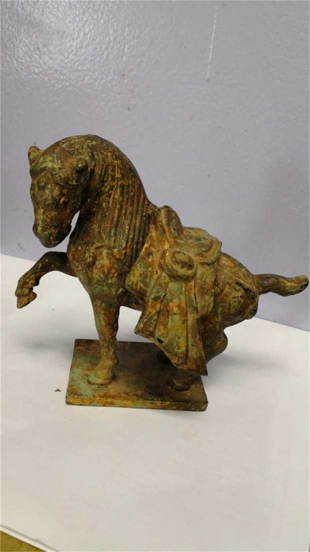 Old Chinese Bronze Horse whit gold