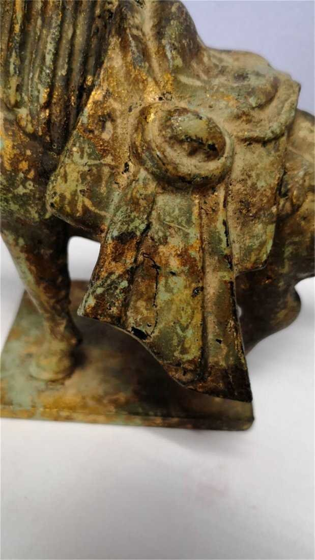 Old Chinese Bronze Horse whit gold - 3