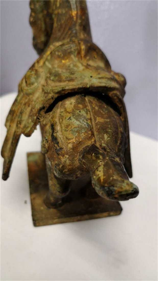 Old Chinese Bronze Horse whit gold - 4
