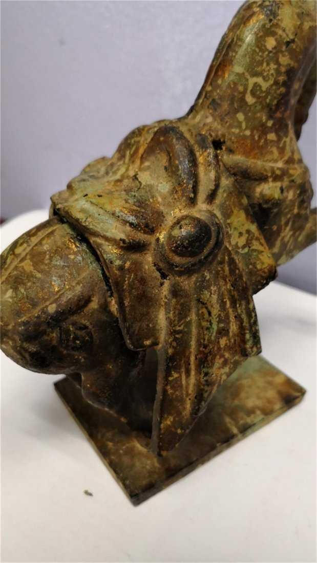 Old Chinese Bronze Horse whit gold - 5