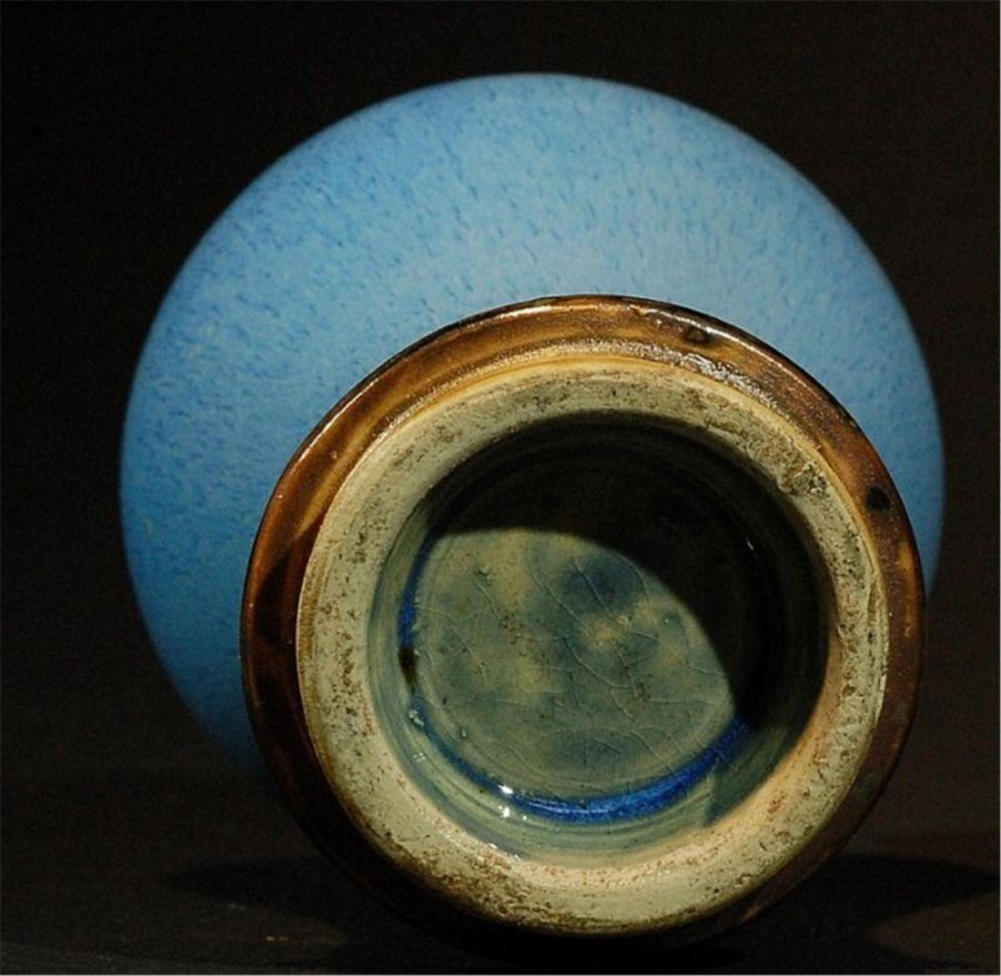 Chinese Blue Flambe Glazed Vase - 4