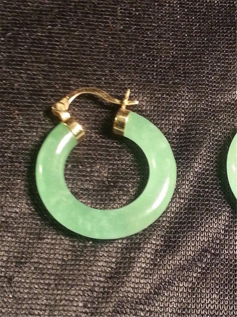 Jade W 14k Gold Earrings - 2