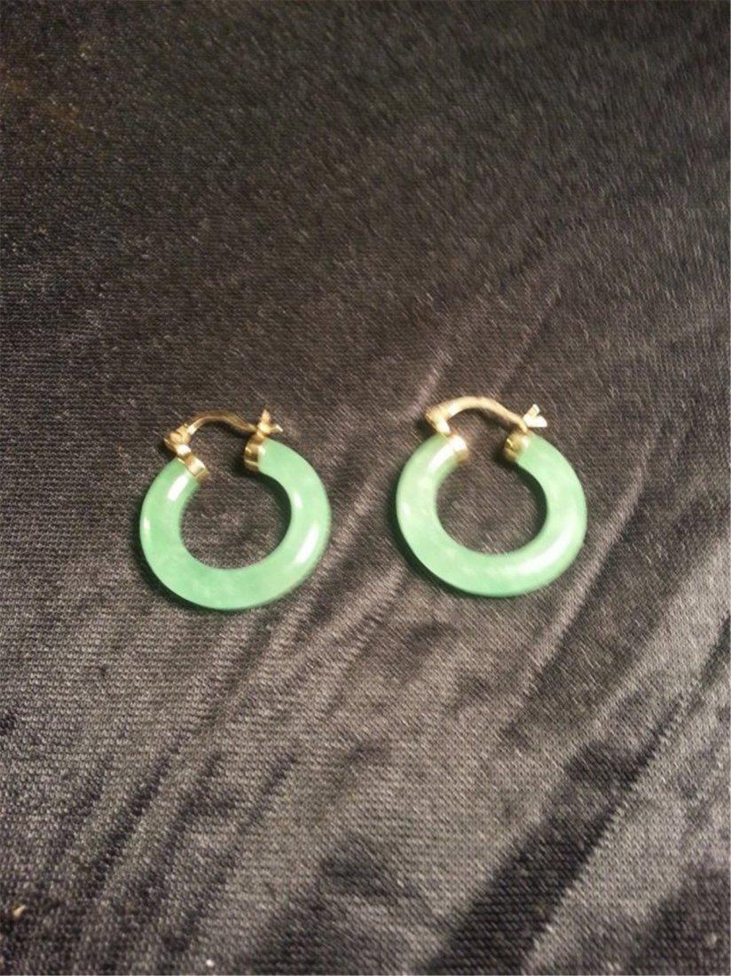 Jade W 14k Gold Earrings - 4