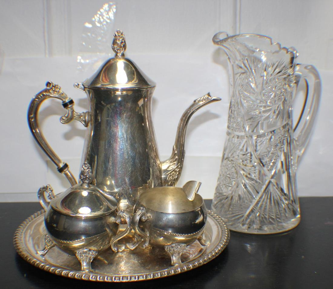 A Set of Silver Coffee Pot with a Cristal Waterpot, BH: