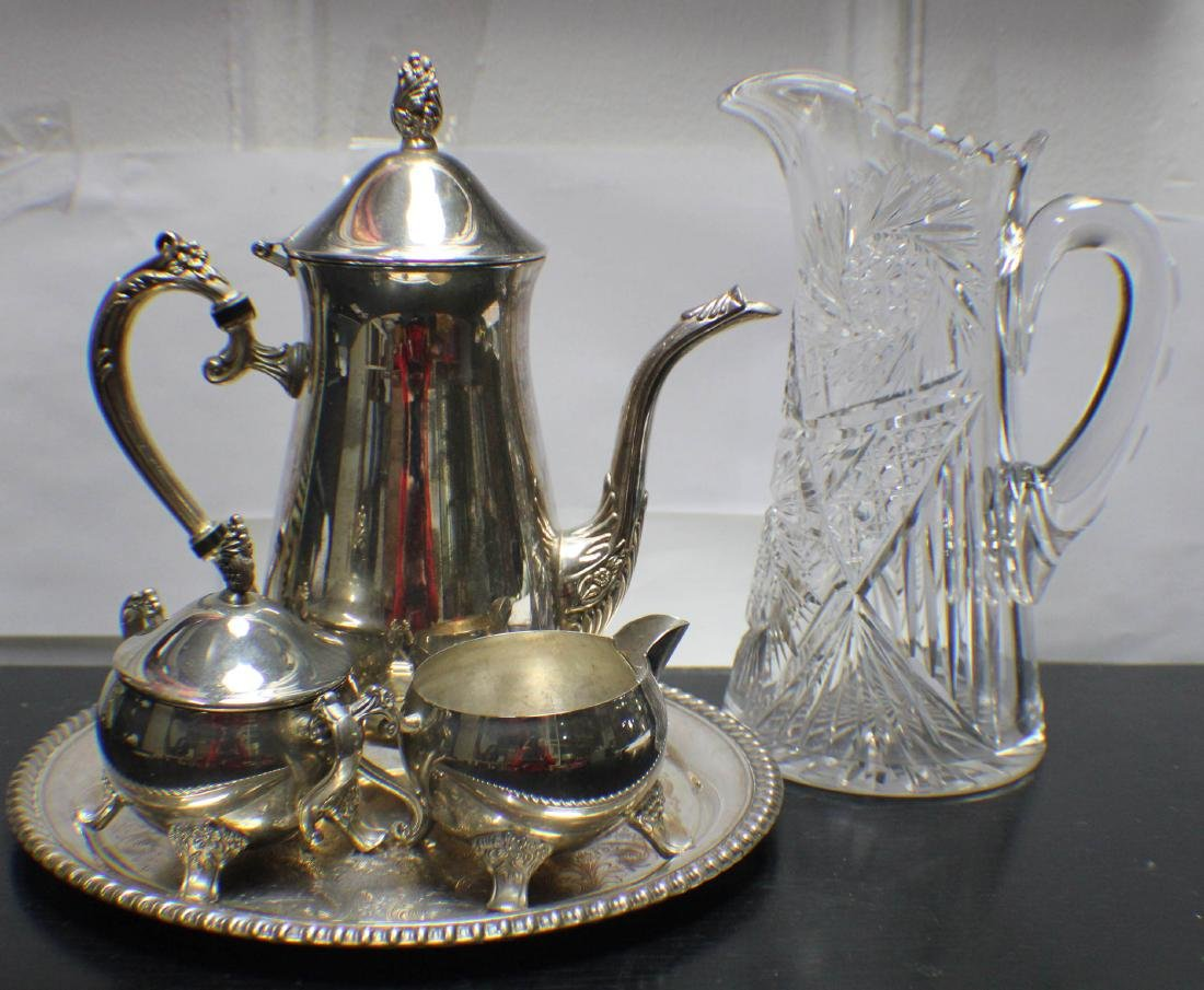 A Set of Silver Coffee Pot with a Cristal Waterpot, BH: - 2