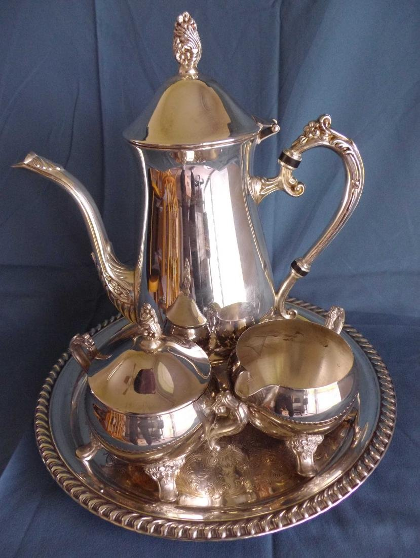 A Set of Silver Coffee Pot with a Cristal Waterpot, BH: - 3