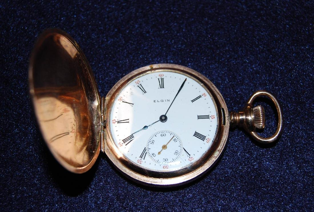 ELGIN 14K Gold Pocket Watch with Two-side Lid, D: 1 - 3