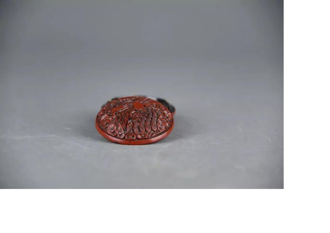 A Cinnabar Lacquer powder box - 3