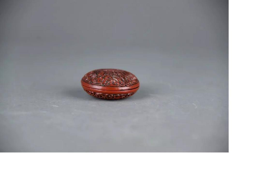 A Cinnabar Lacquer powder box - 4