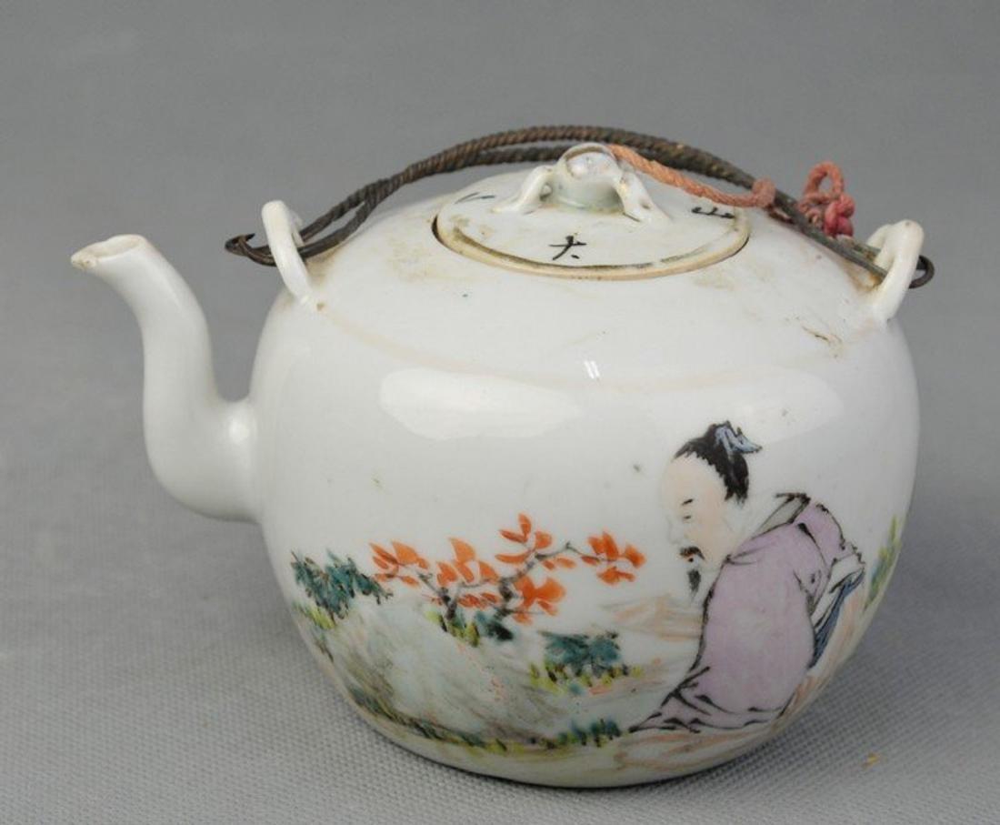 Famille Rose Teapot of Figure Pattern