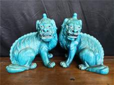 A pair of lions of the Ming Dynasty H 30cm X L 24cm NO