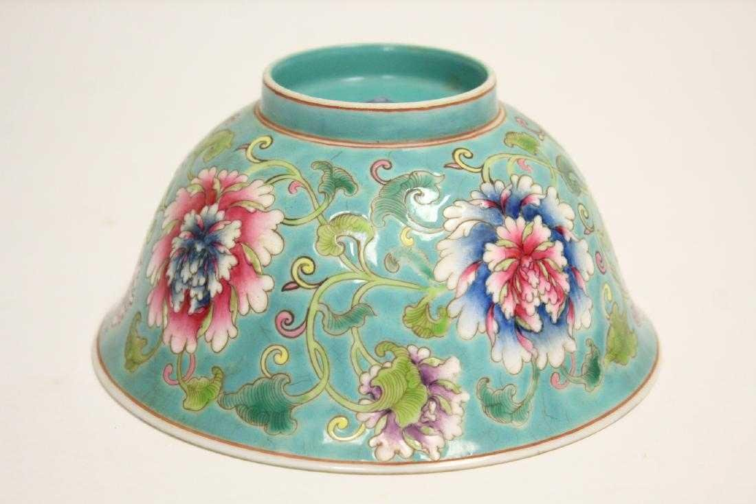 """Chinese Green background famille rose bowl, 2.95""""Hx6""""D,"""