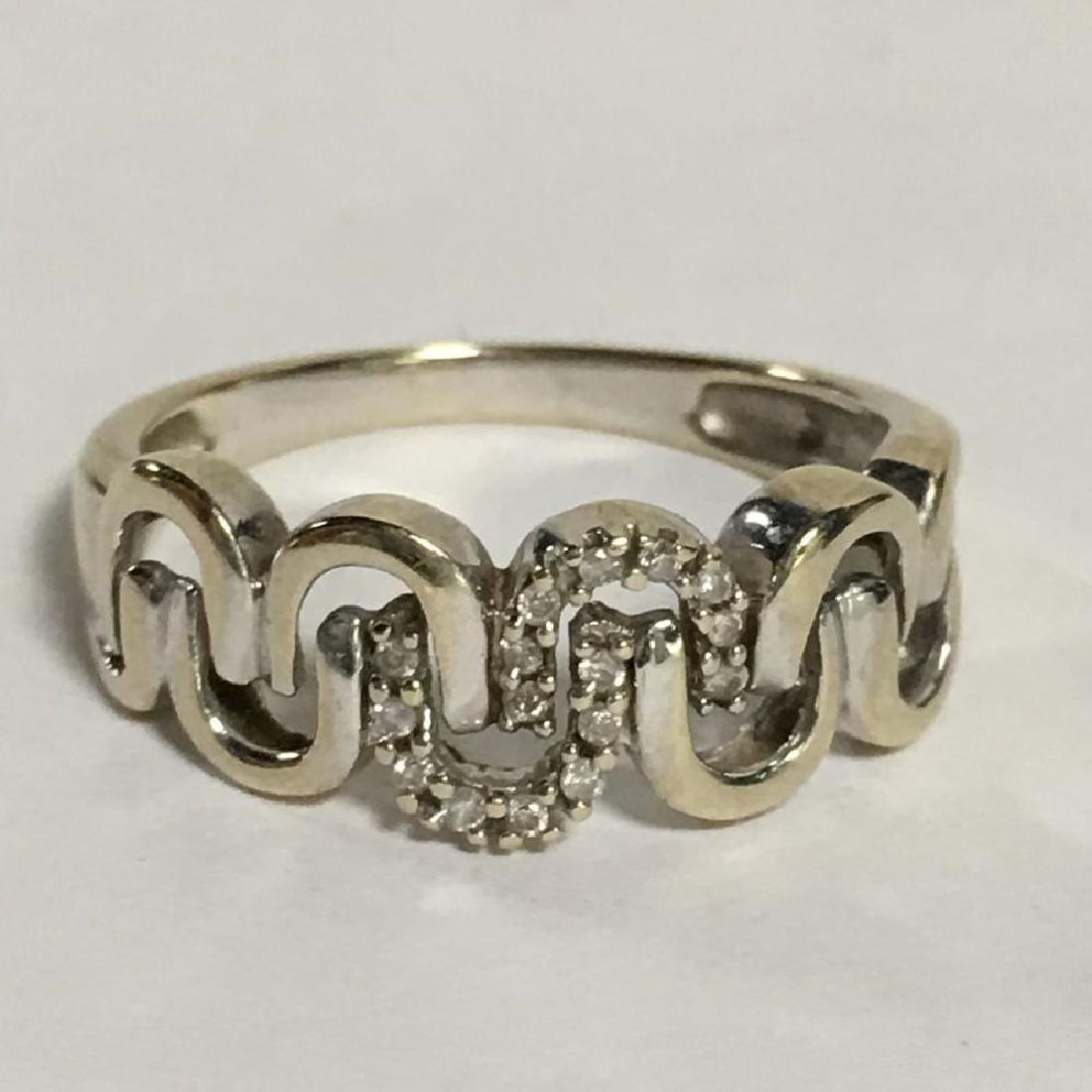 14K White Gold & Diamond Ring, Marked 14K, 1.9DW, size