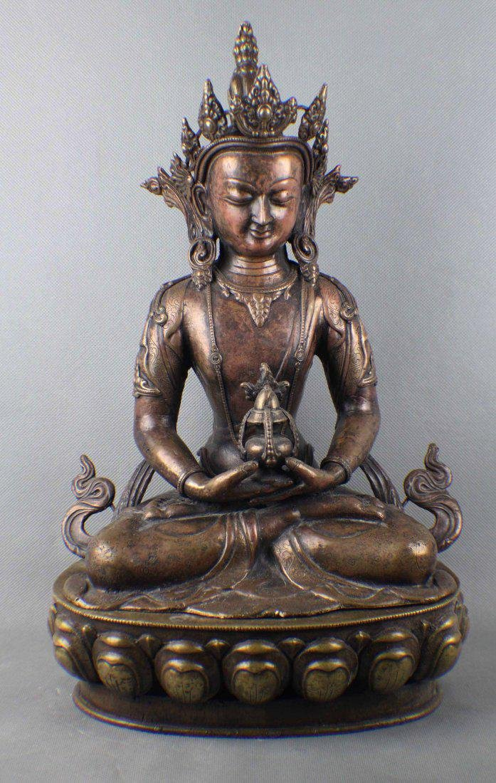"""Well carved old copper buddha, H: 15 3/4"""""""