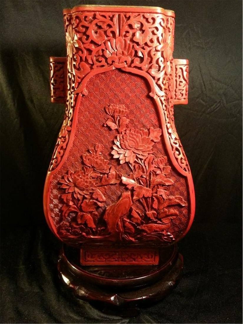 Very Large Old Chinese carved cinnabar lacquered