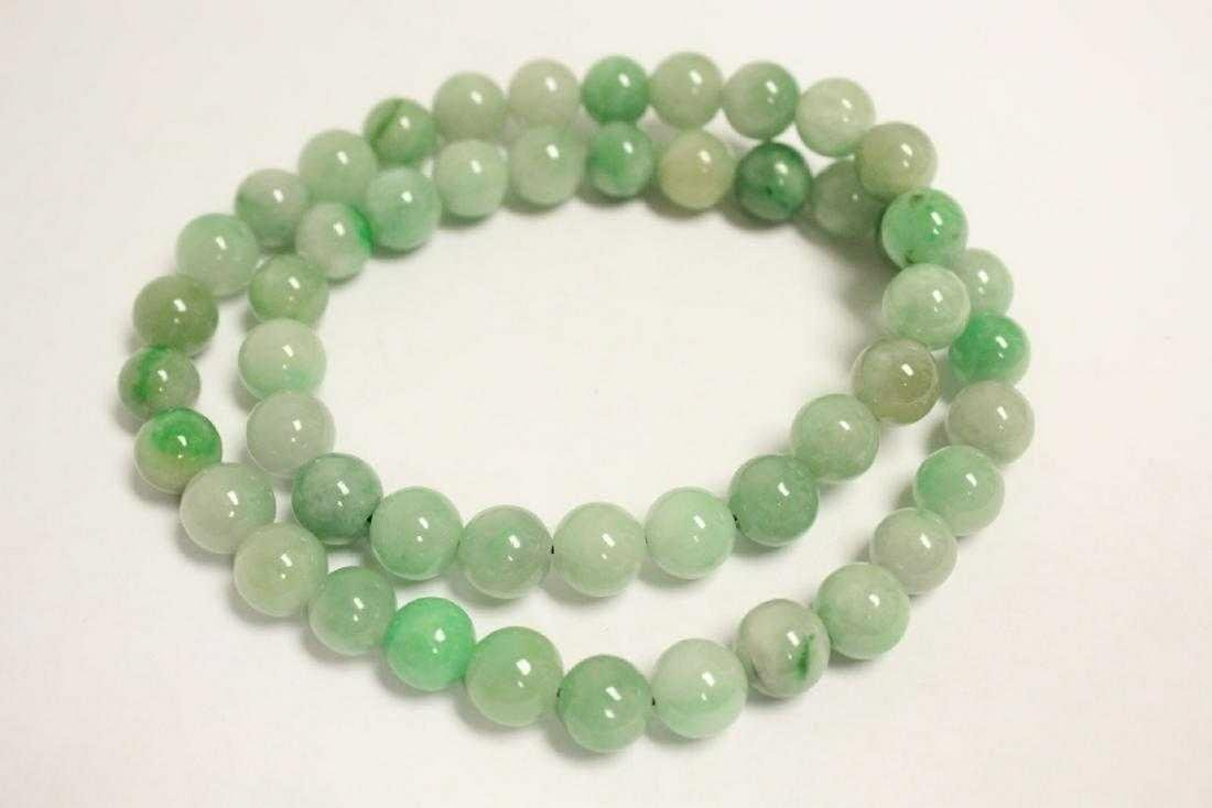 """A fine Chinese jadeite bead (0.45""""D/ each) necklace ,"""