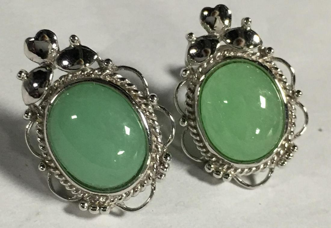 Pair Of Sterling Silver And Jade Earrings, Test