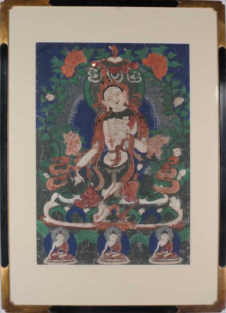 Framed Tibetan Old Thangka, 33 x 22 1/2â€