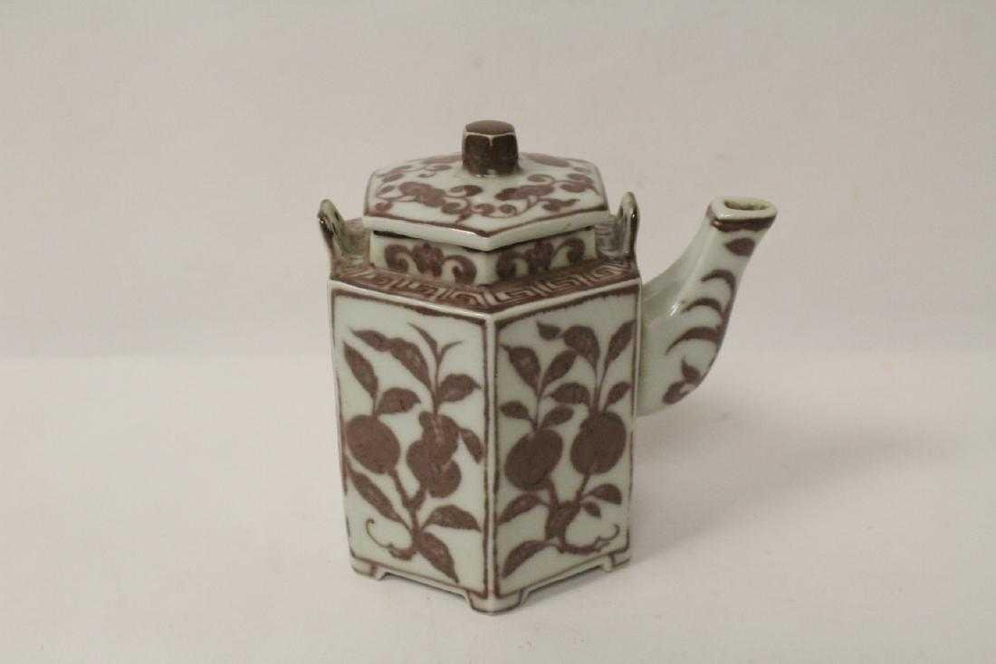 Old Chinese copper red flower pattern teapot,