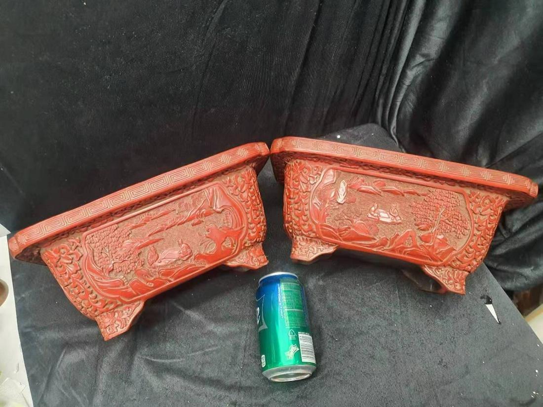 A pair of Qianlong Cinnabar Lacquered flower pots