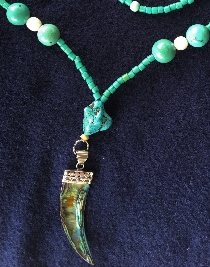 NB Turquoise Necklace w/ Pearl & mother paerl, 27.5""