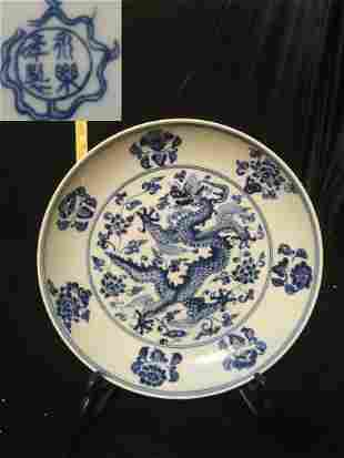 Ming Yongle Blue and White Dragon Plate W 22cm