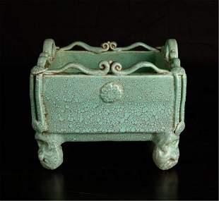 """Chinese Porcelain Censer"""" green mottled glaze"""