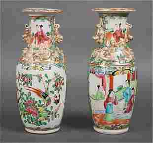 Pair of Chinese Export Rose Medallion vases