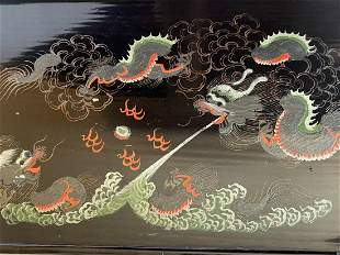 Antique Chinese black lacquer tray / plate (5) Claw Dra