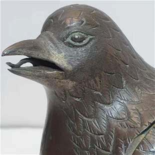 Gilt bronze bird-shaped incense burner