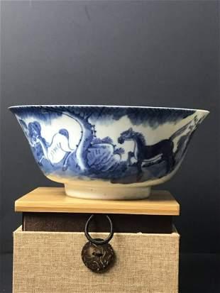 Guangxu Blue and White Horse Bowl 17 cm