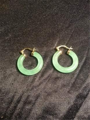 jade W 14k Gold Earrings