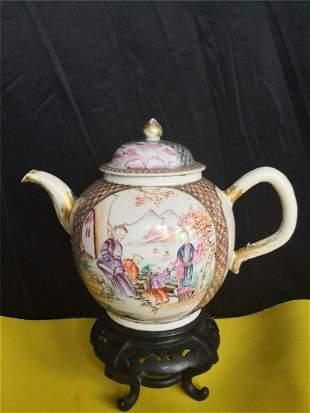 ANTIQUE ANTIQUE FAMILLE ROSE PORCELAIN teapot