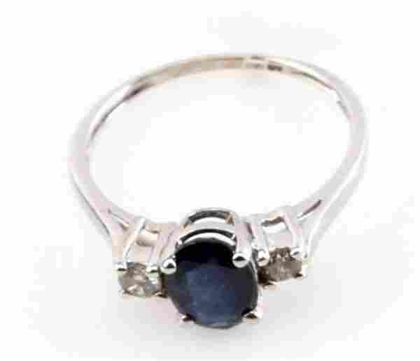 10KW .20CTW BLUE SAPPHIRE DIAMOND RING