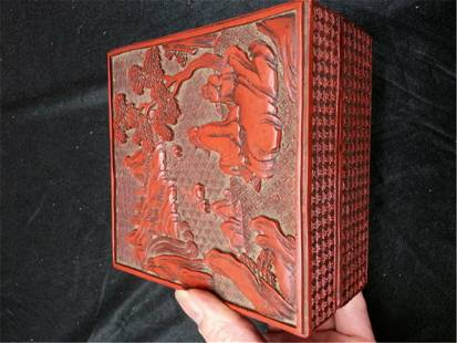 carved cinnabar lacquered Box