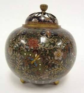 Chinese Cloisonne Incense Burner; Clobular Koro