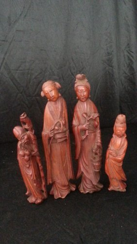 4 Antique Chinese Carved Wood Statue
