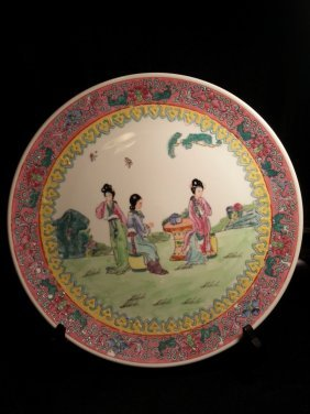 Big Chinese Porcelain Famille Rose Plate